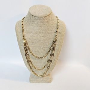 Banana Republic 3 Strand Gold Tone Chain Necklace